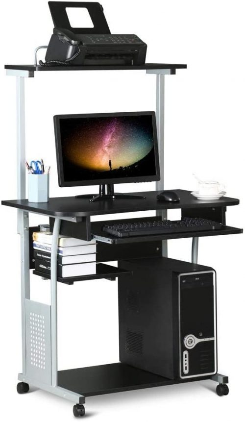 Computer Desk with Printer Shelf & Keyboard Tray Rolling Computer Desk for Small Spaces
