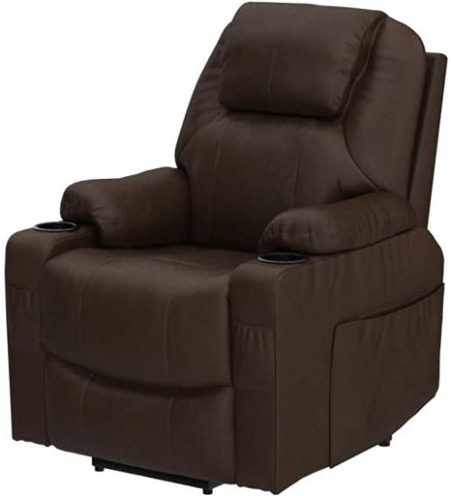 Lift Recliner Chair for Elderly, with Heat and Massage, Faux Leather Recliner Chair with 2 Cup Holders, Side Pockets & Remote Control for Living Room