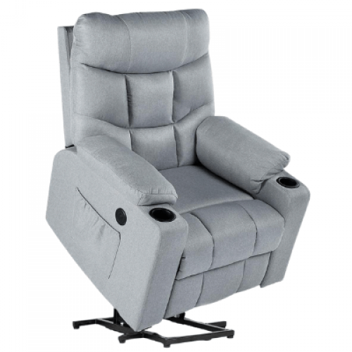 Gray Recliner Chair Sofa with Massage & Heat Function, Reclining Chair with Side Pockets and Cup Holder, USB