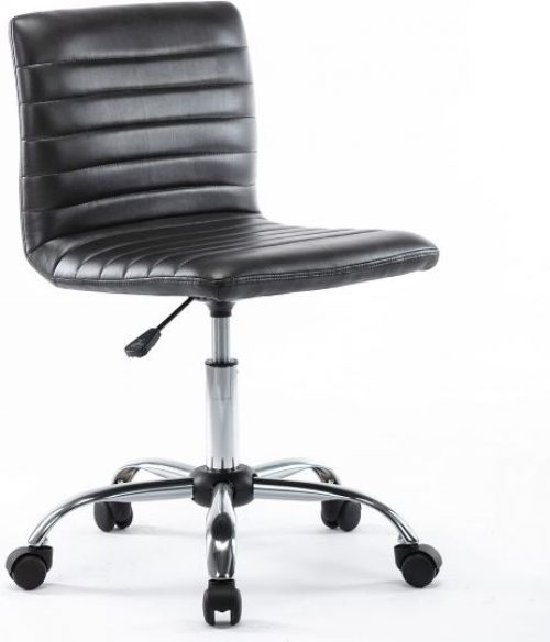 Low-Back Ribbed Faux Leather Office Desk Chair, Adjustable, Swivel, Armless