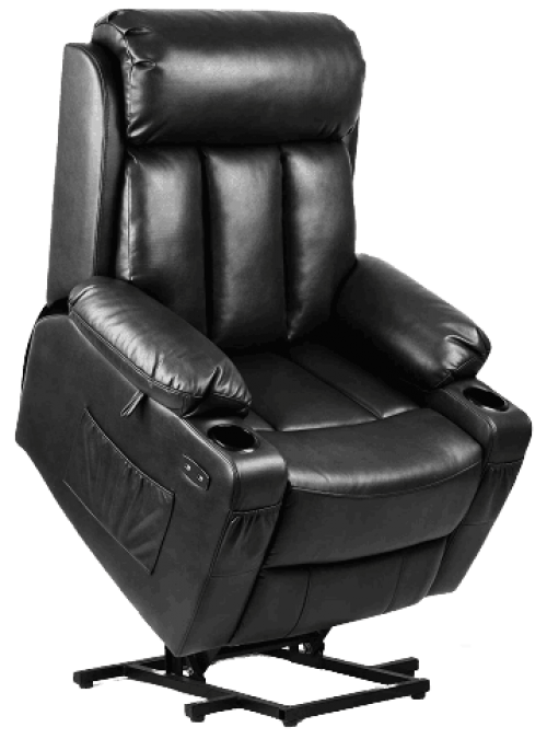 Power Lift Recliner Chair with Extended Footrest for Elderly, Massage and Heat Faux Leather Recliner Chair, 2 Cup Holders, 2 Side & Front Pockets and Remote Control for Living Room