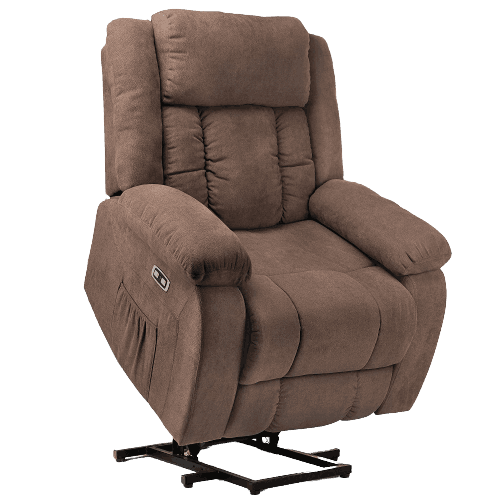 Lift Chair with Heat and Massage, Ergonomic Fabric Recliner Chair Sofa with 2 Side Pockets & Remote Control for Living Room
